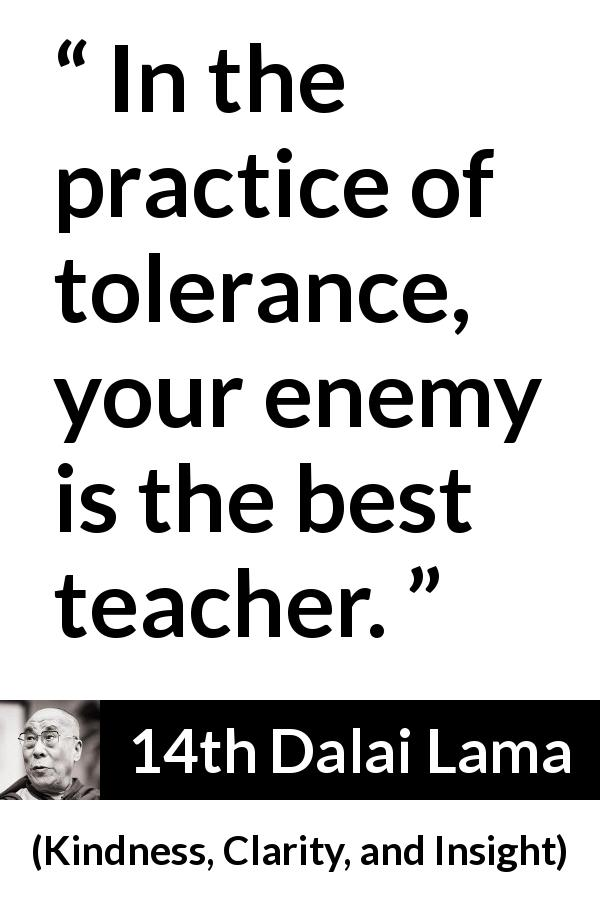 14th Dalai Lama - Kindness, Clarity, and Insight - In the practice of tolerance, your enemy is the best teacher.