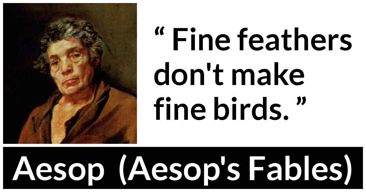 Aesop quote about bird from Aesop's Fables - Fine feathers don't make fine birds.