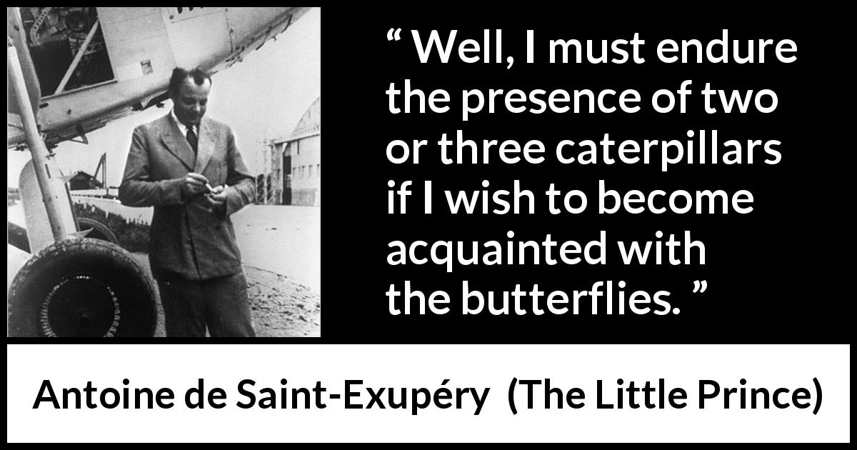 "Antoine de Saint-Exupéry about compromise (""The Little Prince"", 1943) - Well, I must endure the presence of two or three caterpillars if I wish to become acquainted with the butterflies."