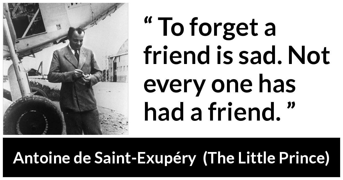 Antoine de Saint-Exupéry - The Little Prince - To forget a friend is sad. Not every one has had a friend.