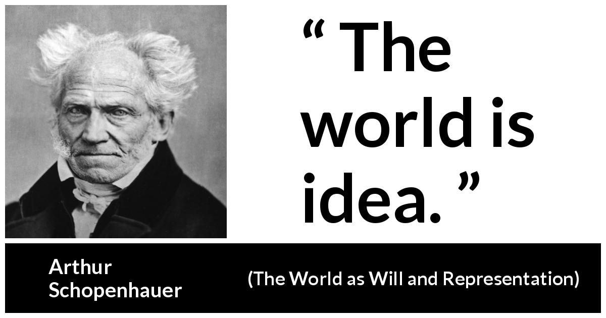 Arthur Schopenhauer - The World as Will and Representation - The world is idea.