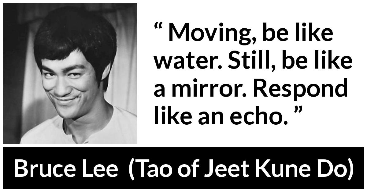 "Bruce Lee about water (""Tao of Jeet Kune Do"", 1975) - Moving, be like water. Still, be like a mirror. Respond like an echo."