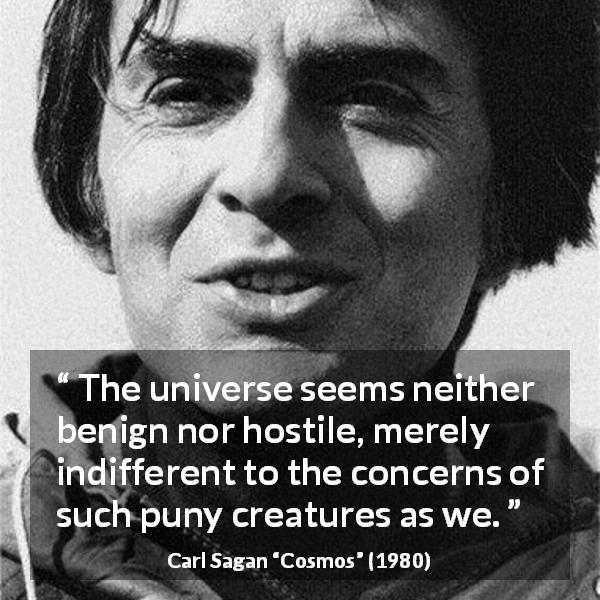 "Carl Sagan about indifference (""Cosmos"", 1980) - The universe seems neither benign nor hostile, merely indifferent to the concerns of such puny creatures as we."