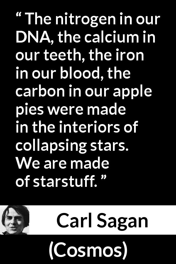"Carl Sagan about stars (""Cosmos"", 1980) - The nitrogen in our DNA, the calcium in our teeth, the iron in our blood, the carbon in our apple pies were made in the interiors of collapsing stars. We are made of starstuff."