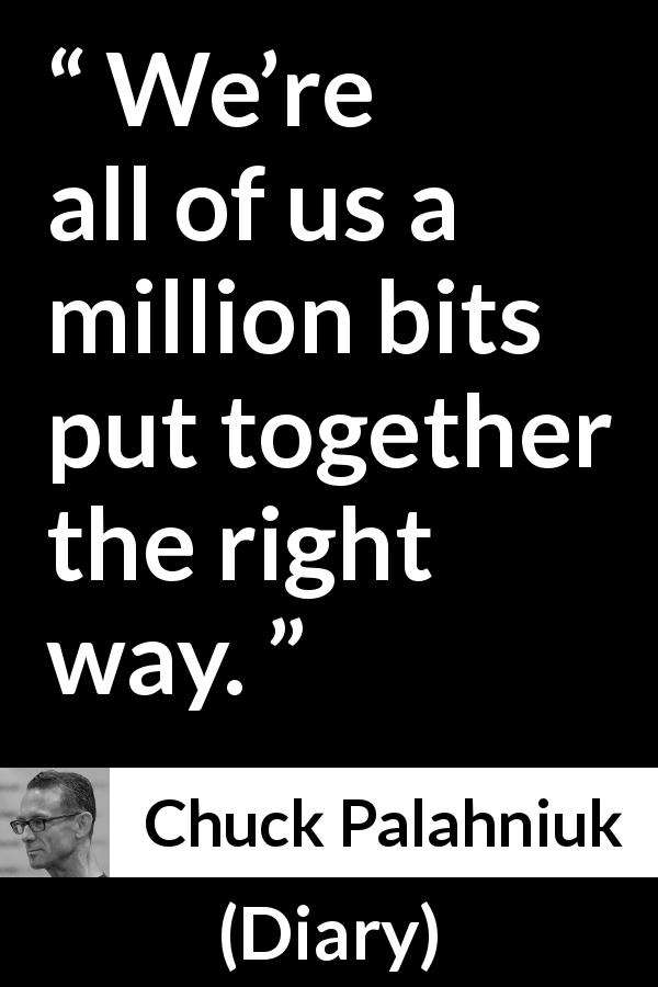 "Chuck Palahniuk about humanity (""Diary"", 2003) - We're all of us a million bits put together the right way."