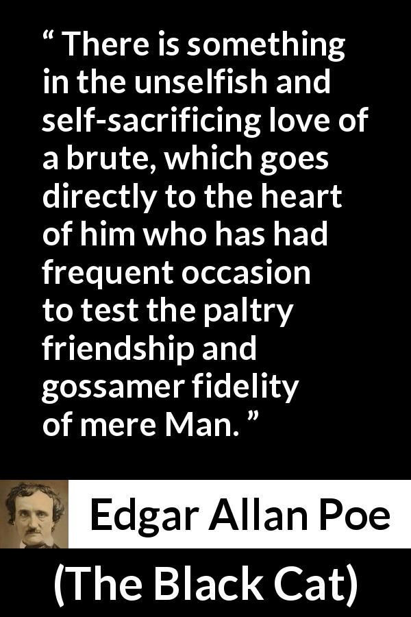 Edgar Allan Poe quote about love from The Black Cat (1843) - There is something in the unselfish and self-sacrificing love of a brute, which goes directly to the heart of him who has had frequent occasion to test the paltry friendship and gossamer fidelity of mere Man.