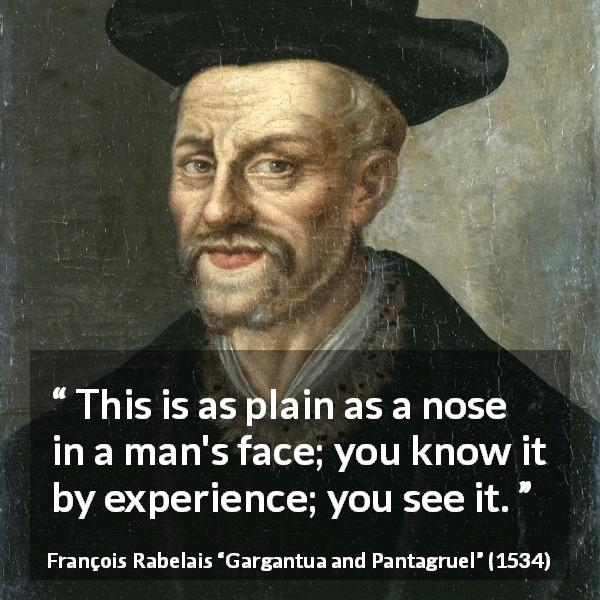 "François Rabelais about face (""Gargantua and Pantagruel"", 1534) - This is as plain as a nose in a man's face; you know it by experience; you see it."