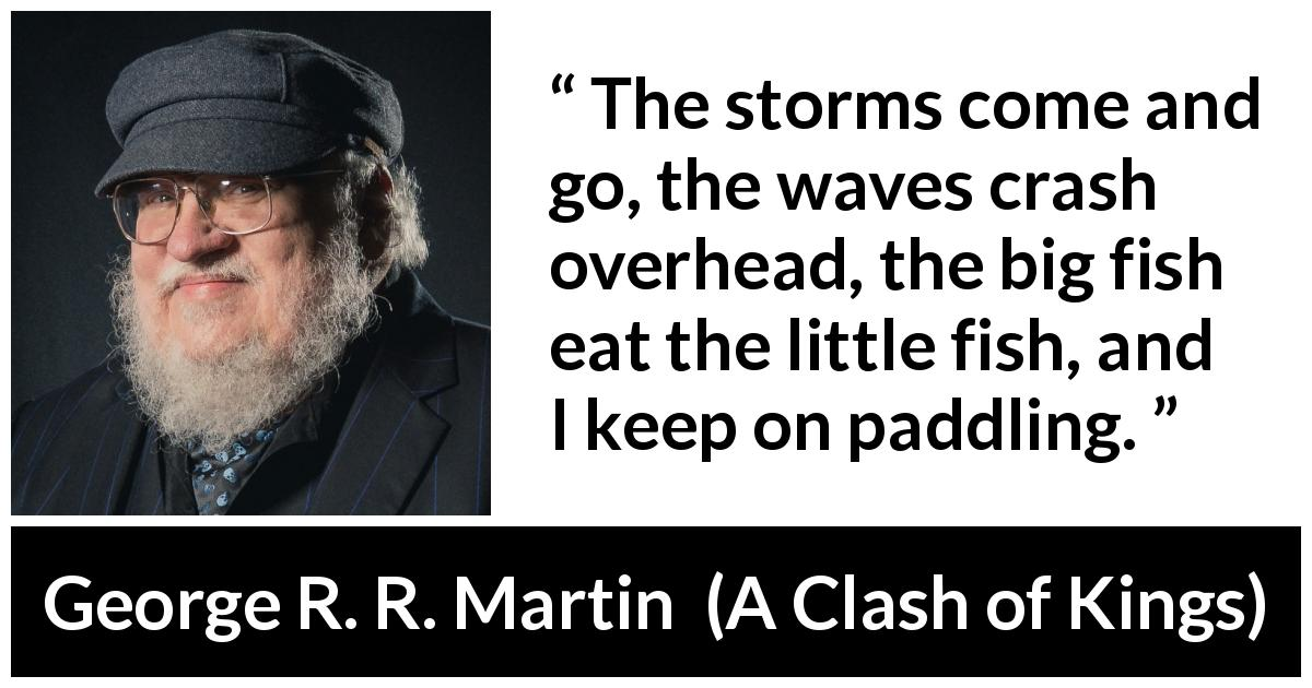 "George R. R. Martin about danger (""A Clash of Kings"", 1999) - The storms come and go, the waves crash overhead, the big fish eat the little fish, and I keep on paddling."
