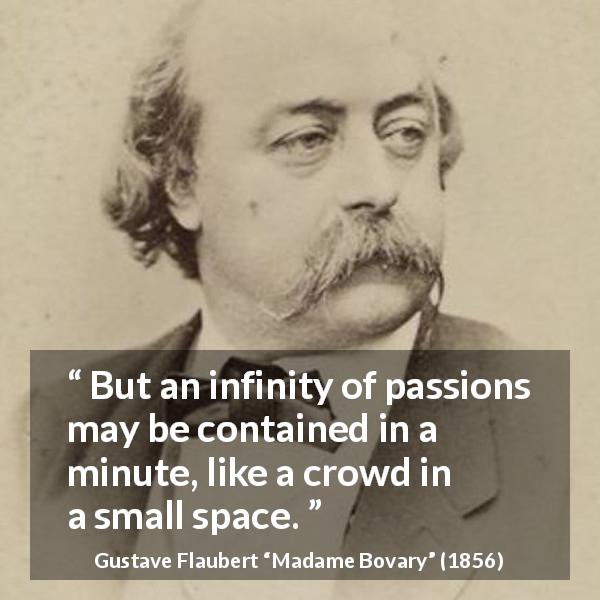 "Gustave Flaubert about passion (""Madame Bovary"", 1856) - But an infinity of passions may be contained in a minute, like a crowd in a small space."