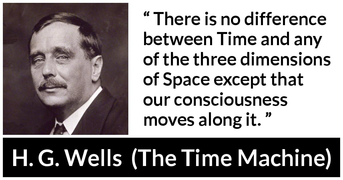 "H. G. Wells about time (""The Time Machine"", 1895) - There is no difference between Time and any of the three dimensions of Space except that our consciousness moves along it."