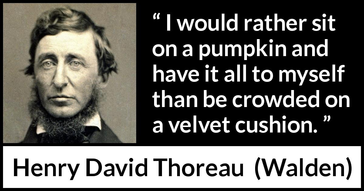 Henry David Thoreau quote about individualism from Walden - I would rather sit on a pumpkin and have it all to myself than be crowded on a velvet cushion.
