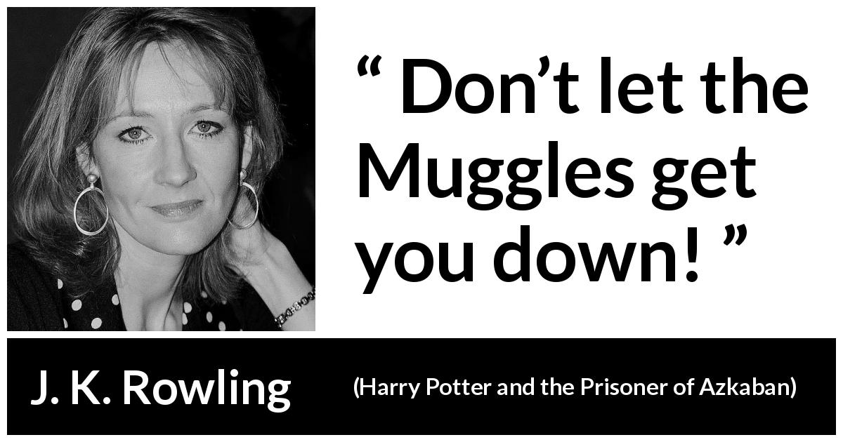"J. K. Rowling about perseverance (""Harry Potter and the Prisoner of Azkaban"", 1999) - Don't let the Muggles get you down!"