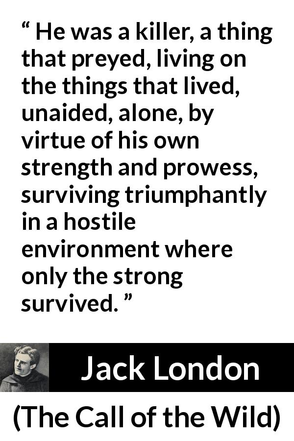 Jack London quote about strength from The Call of the Wild - He was a killer, a thing that preyed, living on the things that lived, unaided, alone, by virtue of his own strength and prowess, surviving triumphantly in a hostile environment where only the strong survived.
