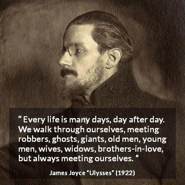 "James Joyce about life (""Ulysses"", 1922) - Every life is many days, day after day. We walk through ourselves, meeting robbers, ghosts, giants, old men, young men, wives, widows, brothers-in-love, but always meeting ourselves."