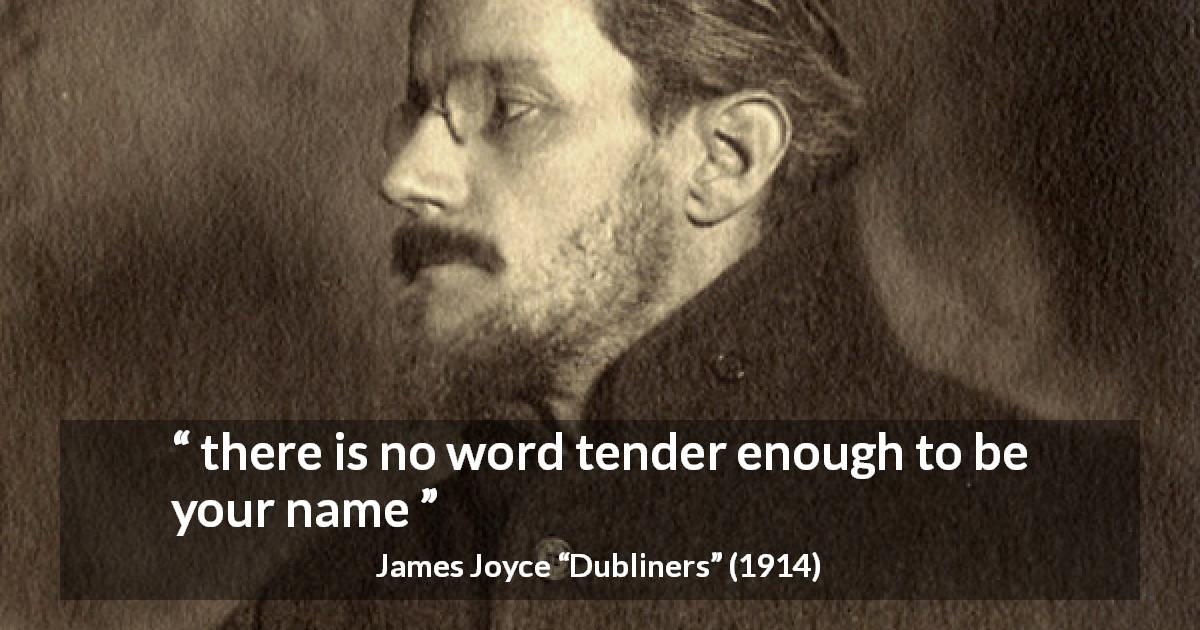 "James Joyce about words (""Dubliners"", 1914) - there is no word tender enough to be your name"