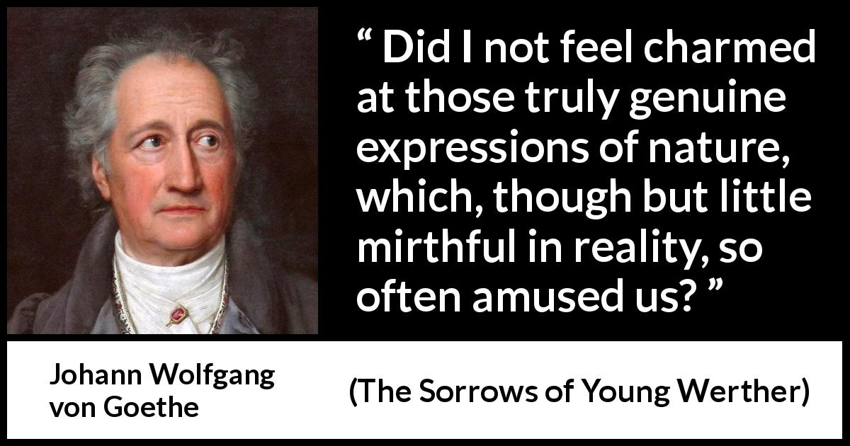 Johann Wolfgang von Goethe - The Sorrows of Young Werther - Did I not feel charmed at those truly genuine expressions of nature, which, though but little mirthful in reality, so often amused us?