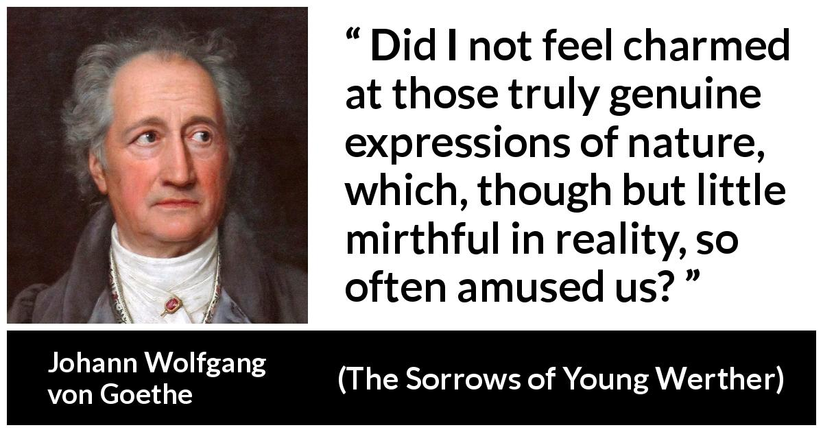 Johann Wolfgang von Goethe quote about amusement from The Sorrows of Young Werther (1774) - Did I not feel charmed at those truly genuine expressions of nature, which, though but little mirthful in reality, so often amused us?