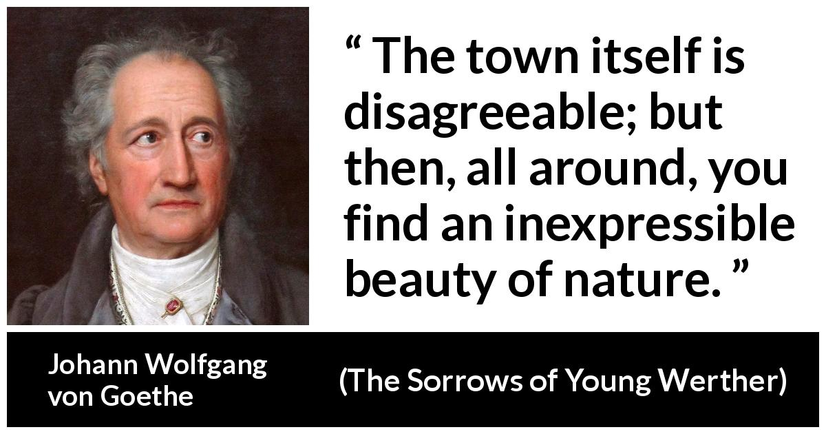Johann Wolfgang von Goethe - The Sorrows of Young Werther - The town itself is disagreeable; but then, all around, you find an inexpressible beauty of nature.