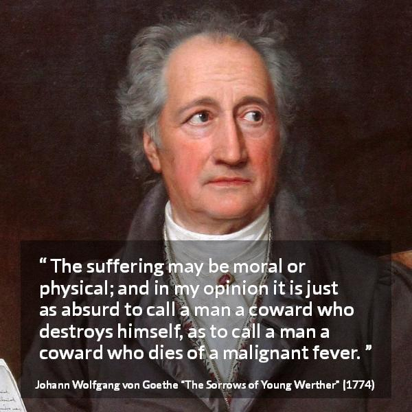 "Johann Wolfgang von Goethe about mind (""The Sorrows of Young Werther"", 1774) - The suffering may be moral or physical; and in my opinion it is just as absurd to call a man a coward who destroys himself, as to call a man a coward who dies of a malignant fever."