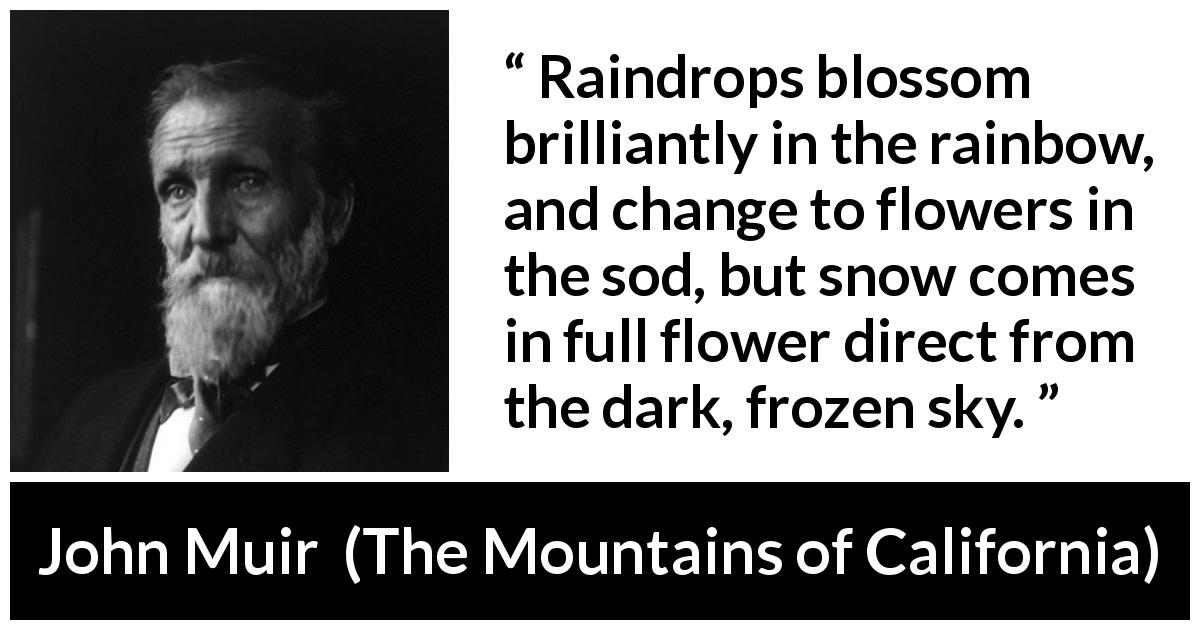 John Muir quote about nature from The Mountains of California (1894) - Raindrops blossom brilliantly in the rainbow, and change to flowers in the sod, but snow comes in full flower direct from the dark, frozen sky.