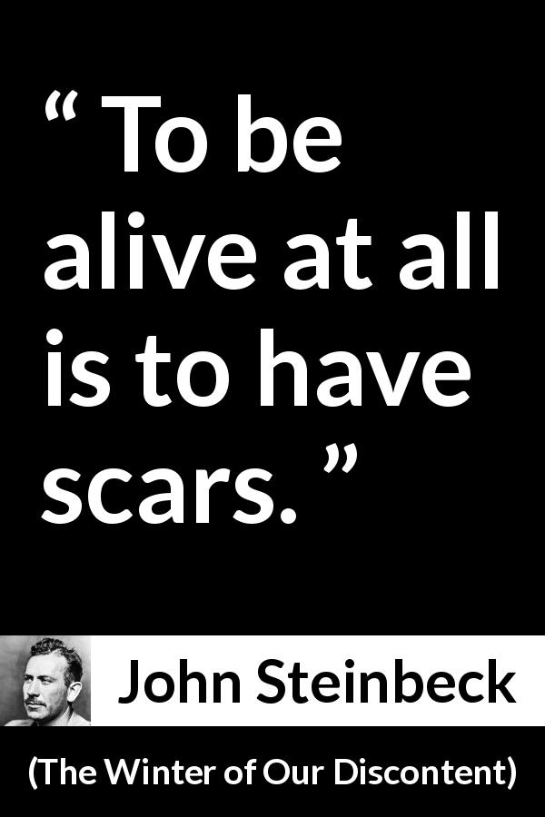 John Steinbeck quote about life from The Winter of Our Discontent (1961) - To be alive at all is to have scars.