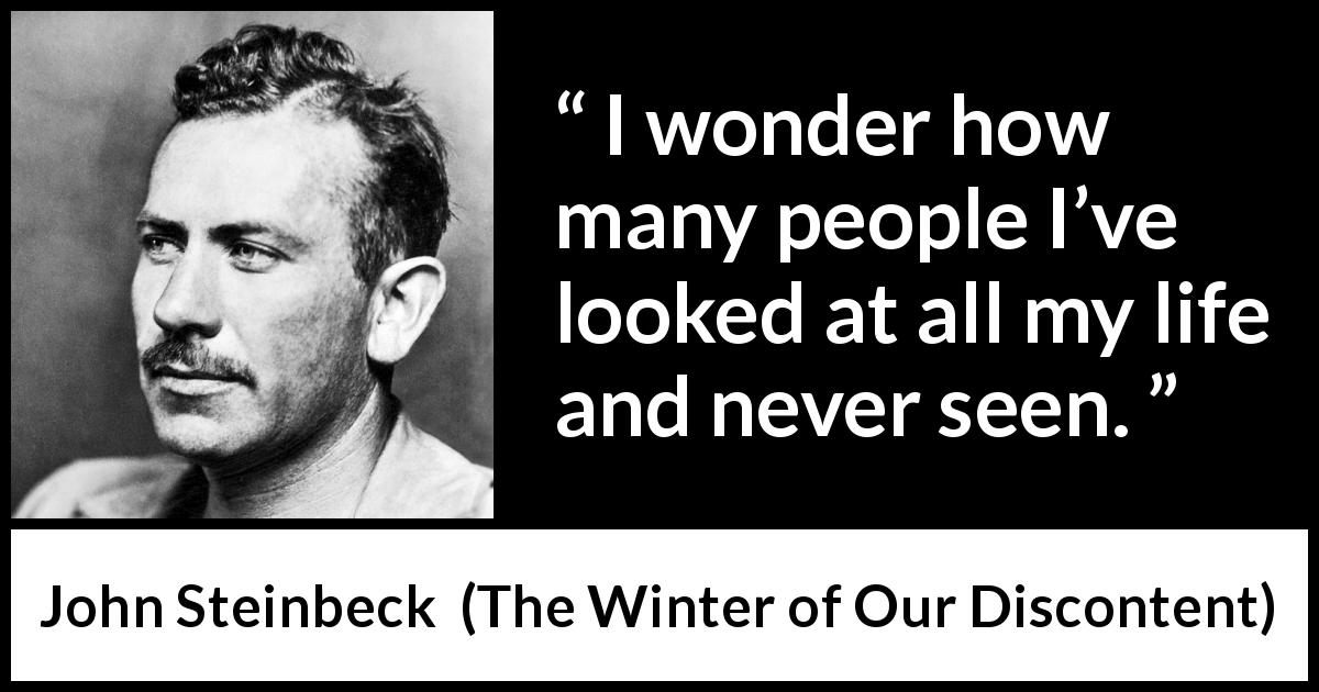 "John Steinbeck about looking (""The Winter of Our Discontent"", 1961) - I wonder how many people I've looked at all my life and never seen."