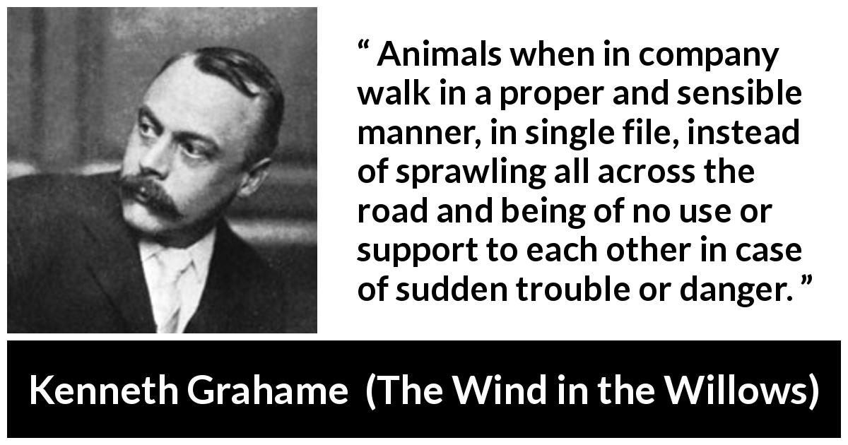 "Kenneth Grahame about danger (""The Wind in the Willows"", 1908) - Animals when in company walk in a proper and sensible manner, in single file, instead of sprawling all across the road and being of no use or support to each other in case of sudden trouble or danger."