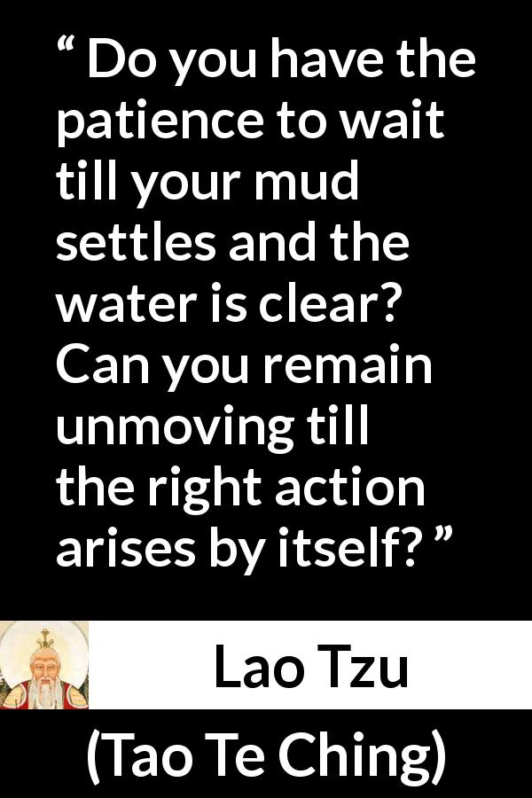 Lao Tzu - Tao Te Ching - Do you have the patience to wait till your mud settles and the water is clear? Can you remain unmoving till the right action arises by itself?