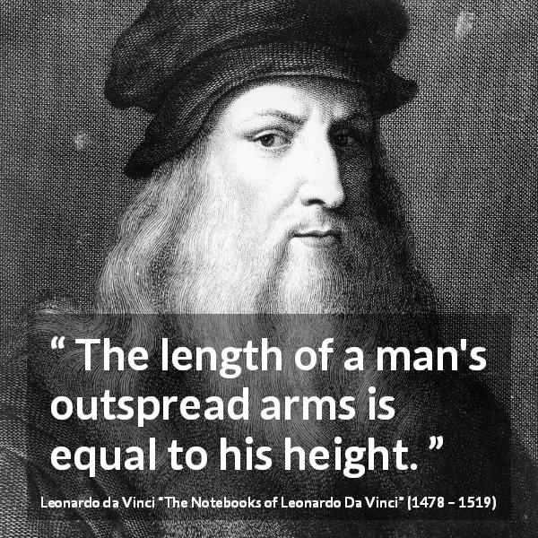 Leonardo da Vinci quote about body from The Notebooks of Leonardo Da Vinci (1478 – 1519) - The length of a man's outspread arms is equal to his height.