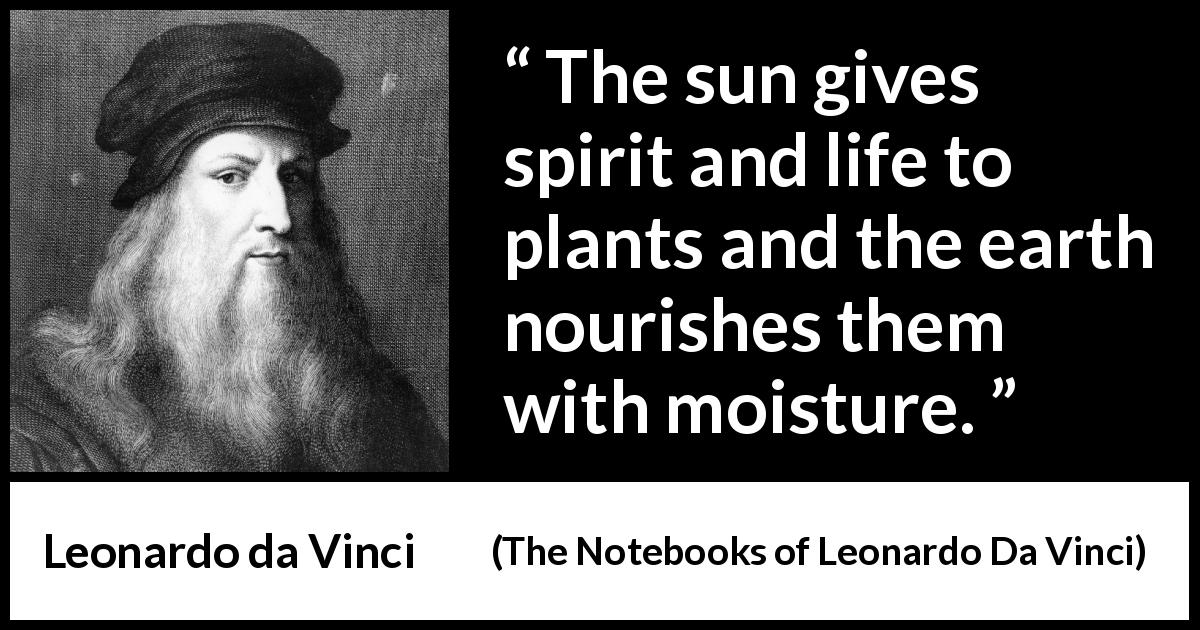 Leonardo da Vinci - The Notebooks of Leonardo Da Vinci - The sun gives spirit and life to plants and the earth nourishes them with moisture.