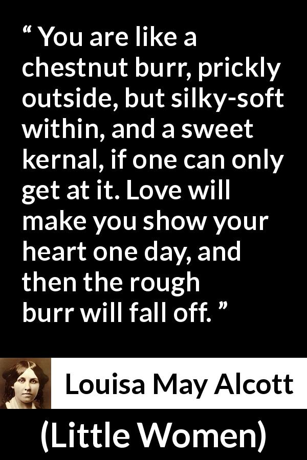 Louisa May Alcott - Little Women - You are like a chestnut burr, prickly outside, but silky-soft within, and a sweet kernal, if one can only get at it. Love will make you show your heart one day, and then the rough burr will fall off.