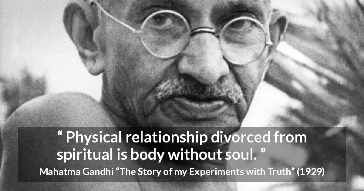 """Physical relationship divorced from spiritual is body ..."
