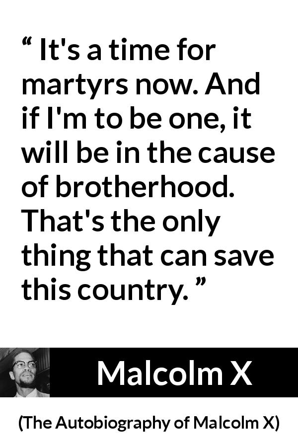 "Malcolm X about salvation (""The Autobiography of Malcolm X"", 1965) - It's a time for martyrs now. And if I'm to be one, it will be in the cause of brotherhood. That's the only thing that can save this country."
