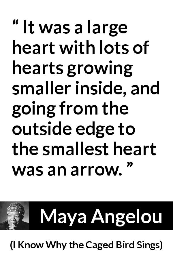 Maya Angelou quote about heart from I Know Why the Caged Bird Sings (1969) - It was a large heart with lots of hearts growing smaller inside, and going from the outside edge to the smallest heart was an arrow.