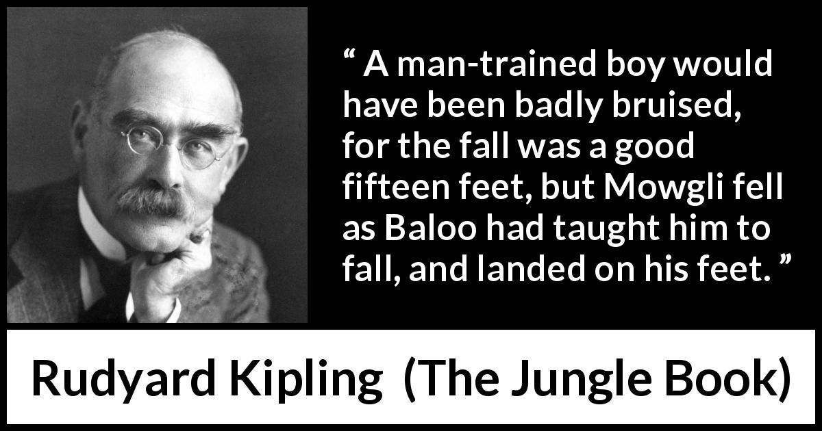 Rudyard Kipling - The Jungle Book - A man-trained boy would have been badly bruised, for the fall was a good fifteen feet, but Mowgli fell as Baloo had taught him to fall, and landed on his feet.