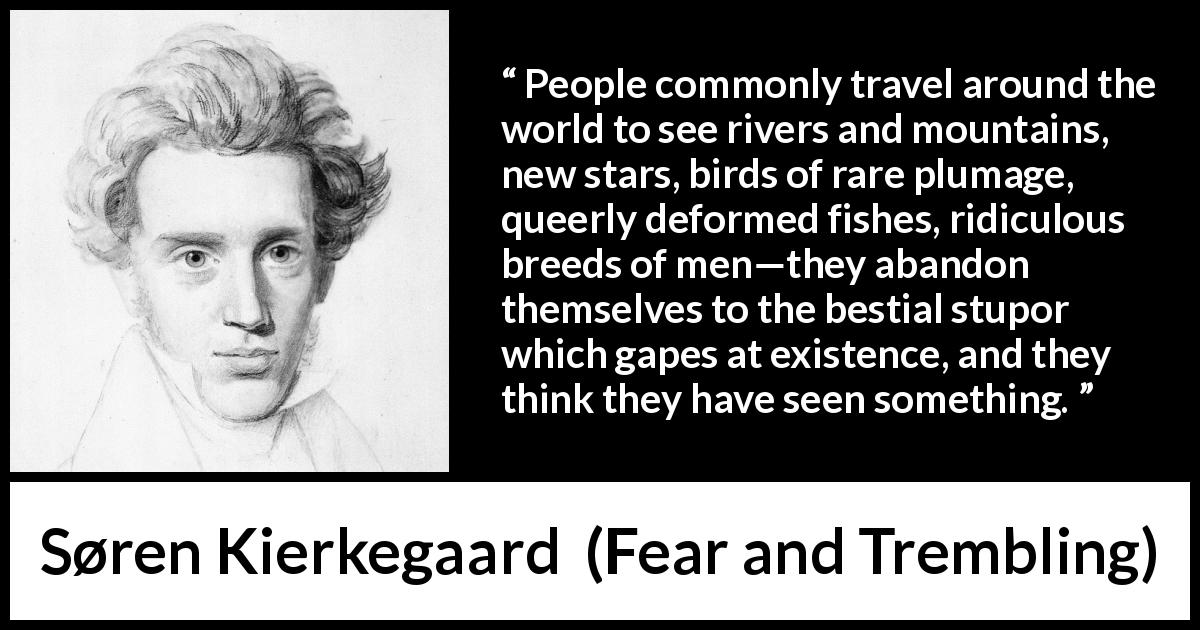 Søren Kierkegaard quote about sight from Fear and Trembling (1843) - People commonly travel around the world to see rivers and mountains, new stars, birds of rare plumage, queerly deformed fishes, ridiculous breeds of men—they abandon themselves to the bestial stupor which gapes at existence, and they think they have seen something.