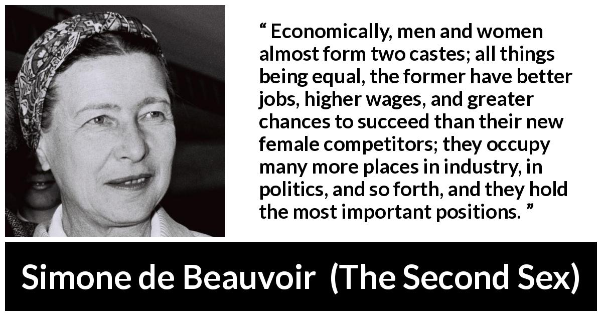 Simone de Beauvoir quote about women from The Second Sex (1949) - Economically, men and women almost form two castes; all things being equal, the former have better jobs, higher wages, and greater chances to succeed than their new female competitors; they occupy many more places in industry, in politics, and so forth, and they hold the most important positions.