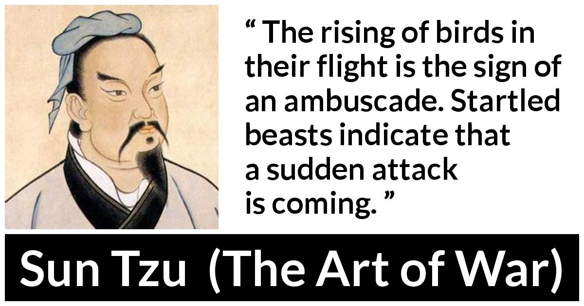 "Sun Tzu about birds (""The Art of War"", 5th century BC) - The rising of birds in their flight is the sign of an ambuscade. Startled beasts indicate that a sudden attack is coming."