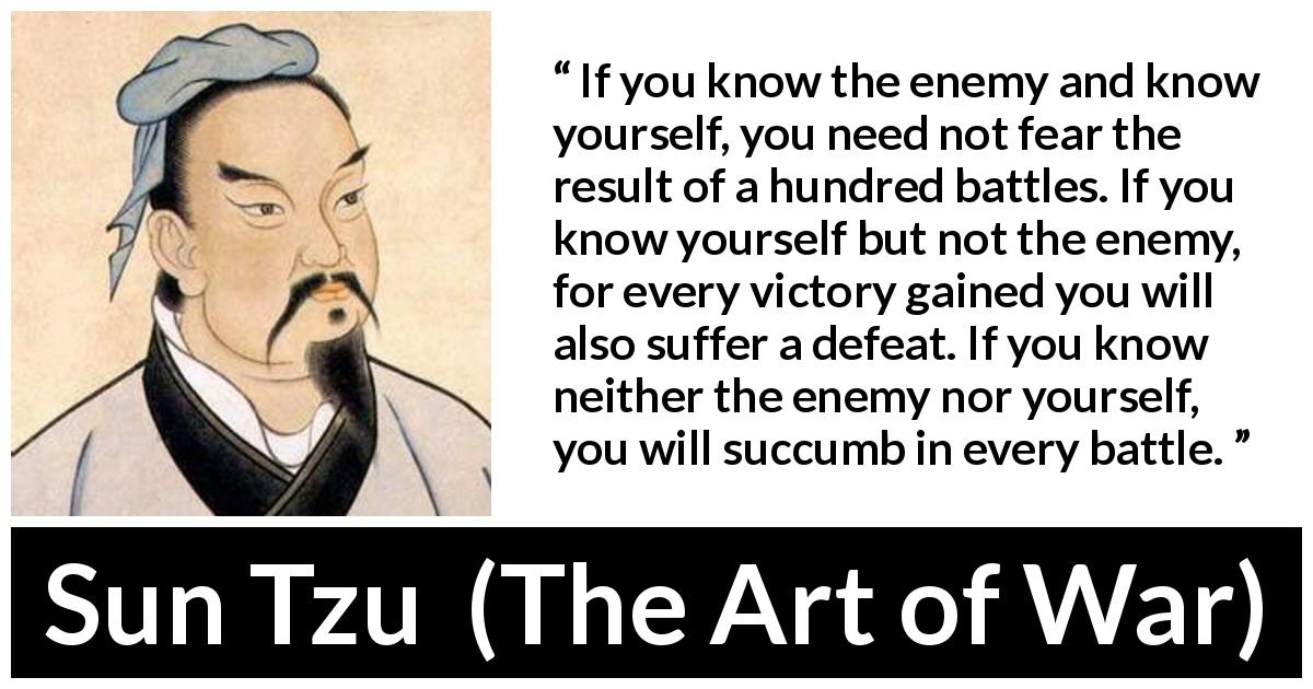 "Sun Tzu about self-knowledge (""The Art of War"", 5th century BC) - If you know the enemy and know yourself, you need not fear the result of a hundred battles. If you know yourself but not the enemy, for every victory gained you will also suffer a defeat. If you know neither the enemy nor yourself, you will succumb in every battle."