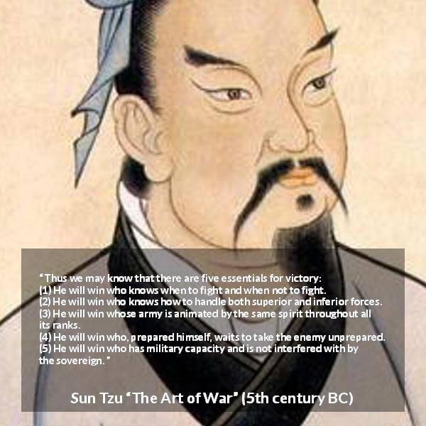 "Sun Tzu about victory (""The Art of War"", 5th century BC) - Thus we may know that there are five essentials for victory: