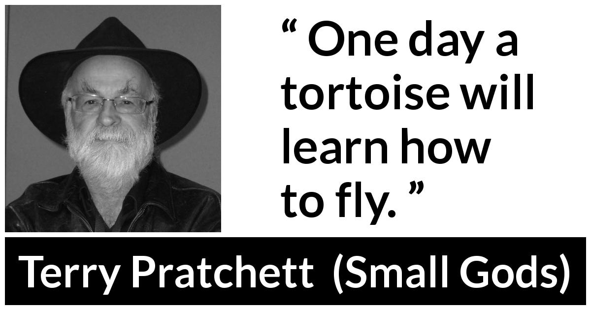 "Terry Pratchett about flying (""Small Gods"", 1992) - One day a tortoise will learn how to fly."