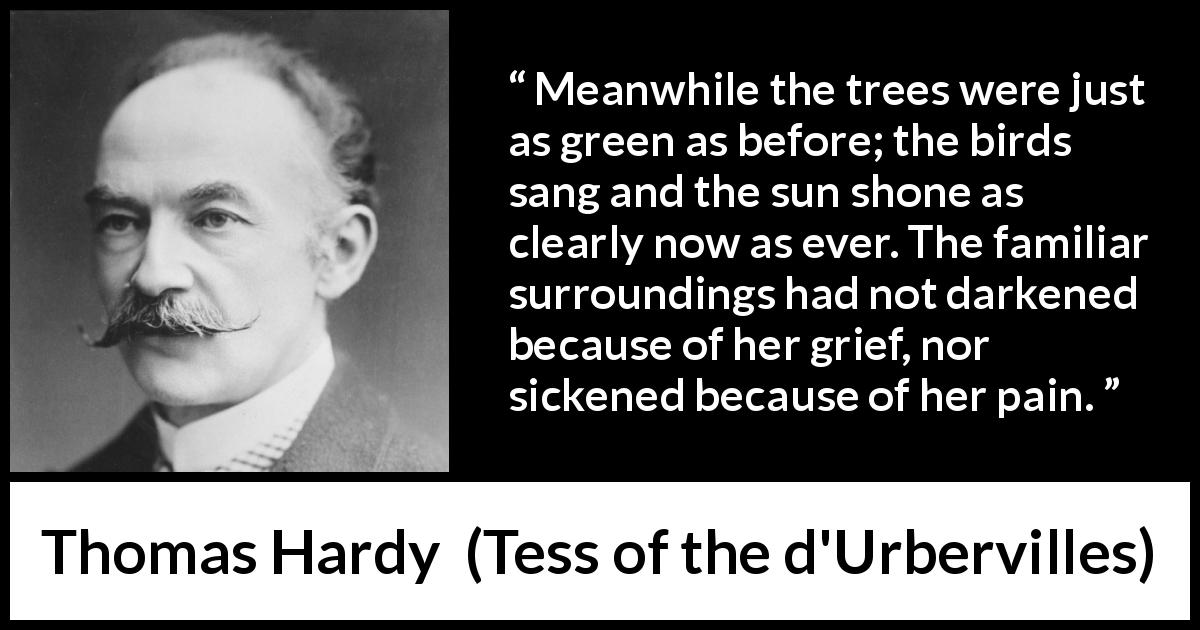 Thomas Hardy - Tess of the d'Urbervilles - Meanwhile the trees were just as green as before; the birds sang and the sun shone as clearly now as ever. The familiar surroundings had not darkened because of her grief, nor sickened because of her pain.