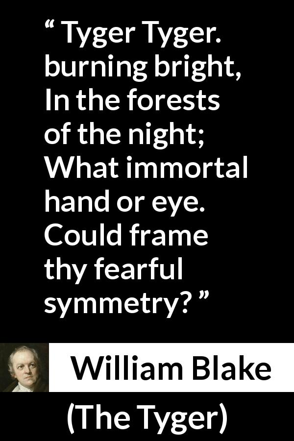 "William Blake about fear (""The Tyger"", 1794) - Tyger Tyger. burning bright,