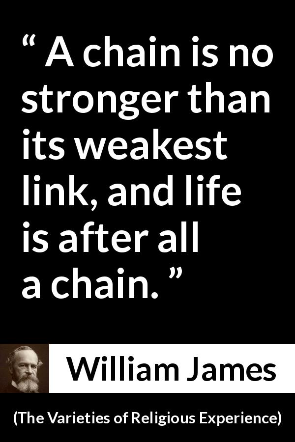 "William James about life (""The Varieties of Religious Experience"", 1902) - A chain is no stronger than its weakest link, and life is after all a chain."