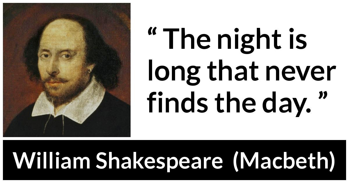 "William Shakespeare about darkness (""Macbeth"", 1623) - The night is long that never finds the day."