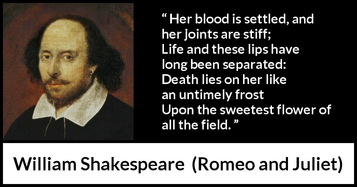 "William Shakespeare about death (""Romeo and Juliet"", 1597) - Her blood is settled, and her joints are stiff;
