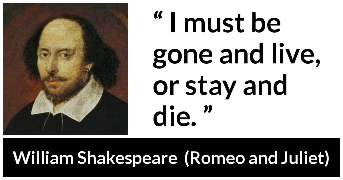 William Shakespeare quote about dilemma from Romeo and Juliet (1597) - I must be gone and live, or stay and die.