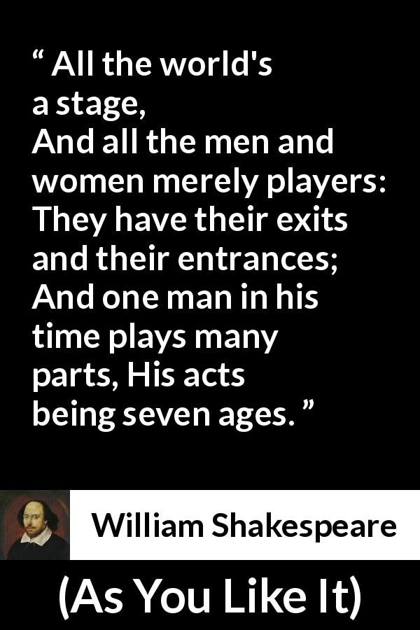William Shakespeare quote about role from As You Like It (1623) - All the world's a stage,