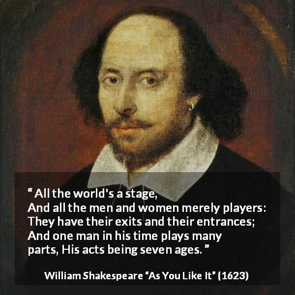 William Shakespeare quote about life from As You Like It (1623) - All the world's a stage,