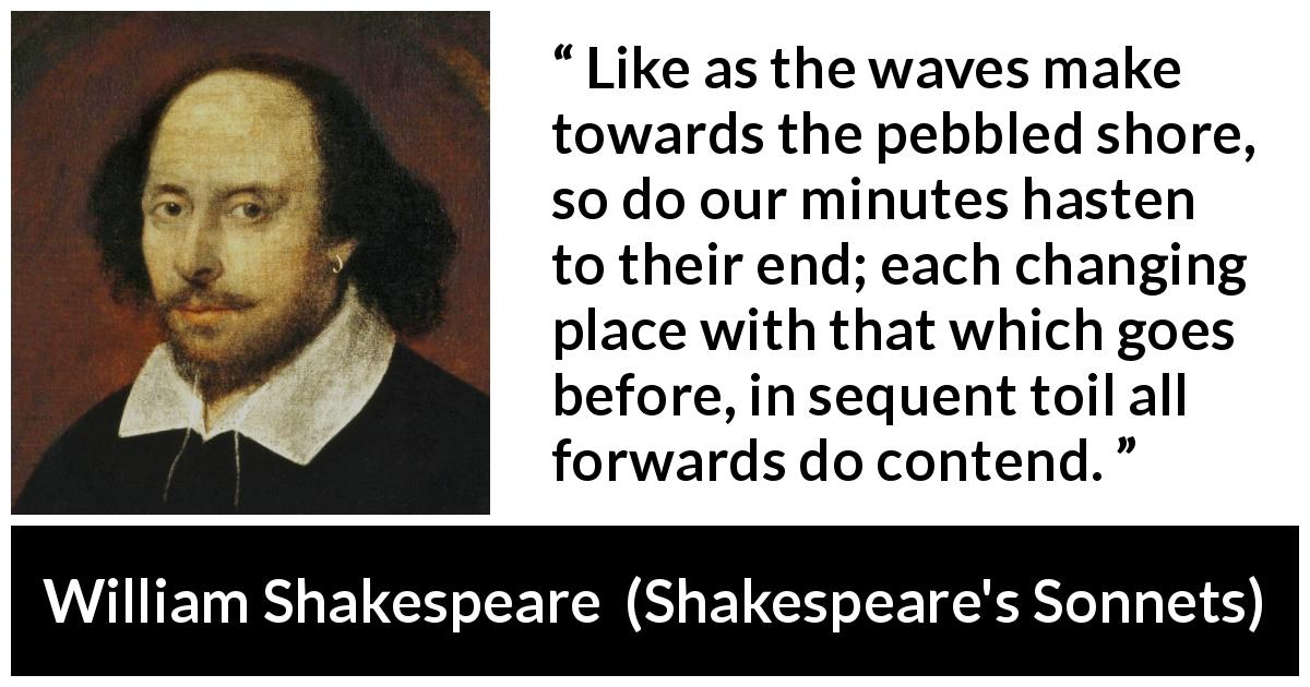 William Shakespeare - Shakespeare's Sonnets - Like as the waves make towards the pebbled shore, so do our minutes hasten to their end; each changing place with that which goes before, in sequent toil all forwards do contend.